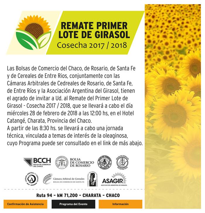Invitación Remate Primer Lote Cosecha de Girasol 2017/2018